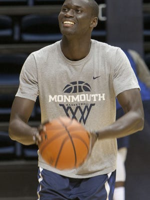 Monmouth University men's basketball practice. Pierre Sarr  -October 5, 2015-West Long Branch, NJ.-Staff photographer/Bob Bielk/Asbury Park Press