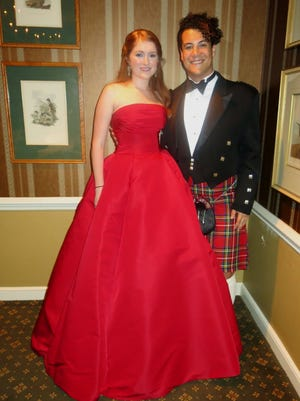 "Demoiselle Deb Katherine Jones and Tristen Hebert at ""Red is the Rose"" formal  Celtic Christmas Celebration at the Shreveport Club. It honored Jones."