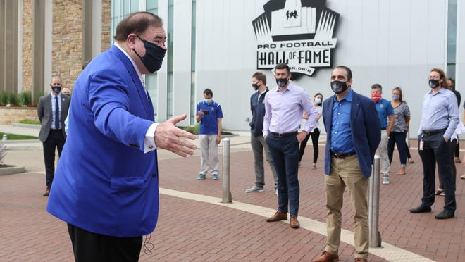 David Baker, president and chief executive officer of the Pro Football Hall of Fame, addresses employees outside the museum before it reopened in Canton on Wednesday, June 10, 2020.