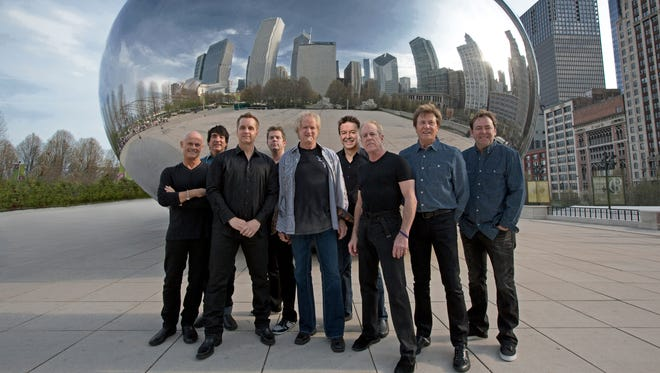 Chicago is, from left, Tris Imboden, Wally Reyes, Jr., Jason Scheff, Keith Howland, Lee Loughnane, Walt Parazaider, Jimmy Pankow, Robert Lamm and Lou Pardini.