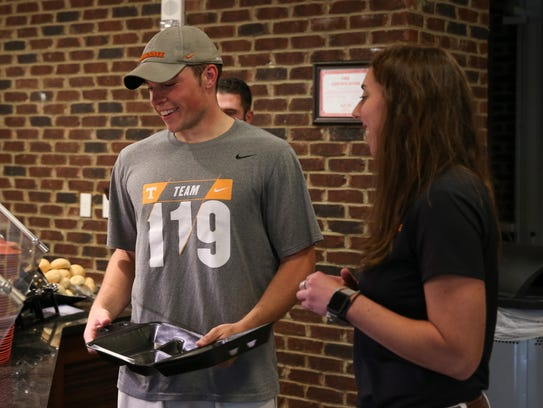 Tennessee long snapper Riley Lovingood talks with Director