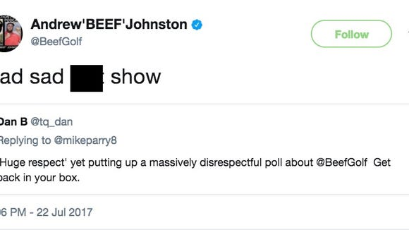 Andrew 'Beef' Johnston rips critics in foul-mouthed Twitter rant