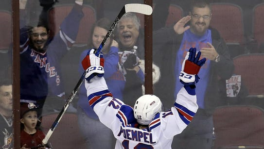 New York Rangers left wing Matt Puempel celebrates