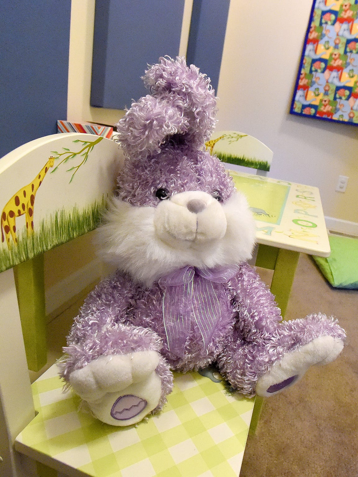A stuffed rabbit rests on one of two chairs in one of the two interview rooms at the Valley Children's Advocacy Center in Staunton.
