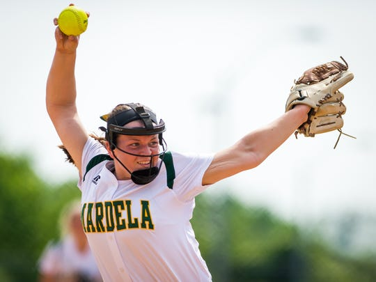Mardela pitcher Kalie Adkins (14) throws to a Boonsboro