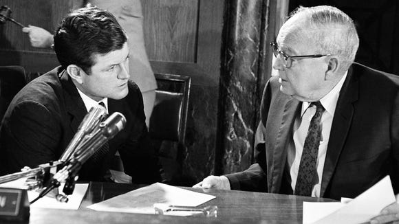 Sen. Edward Kennedy (D-Mass.), left, confers with Chairman James Eastland of the Senate Judiciary Committee, before the start of a hearing on a House approved bill, Aug. 4, 1967, in Washington, D.C.