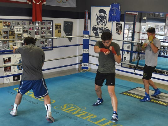 The Nevada boxing team gets in shape at their Gym as they get ready to box against Air Force on Thursday night.