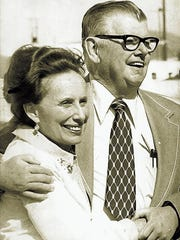 In 1975: Moya Lear stands in Reno with her husband, William P. Lear, inventor of the Learjet and other airplanes.
