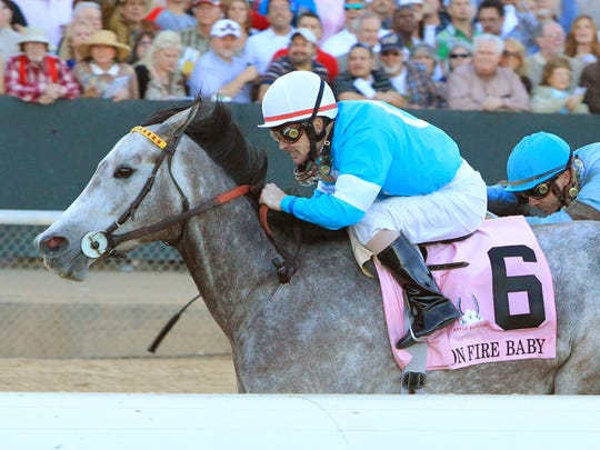 On Fire Baby made her racing debut in 2011 at Ellis Park. Two years later, she won Oaklawn Park's Grade 1 Apple Blossom Handicap (above), as well as the 2014 La Troienne at Churchill Downs.