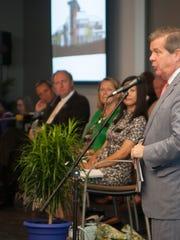 Mayor Karl Dean speaks in July at a dedication of the