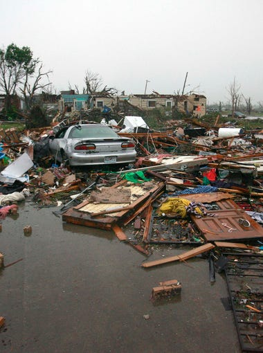 Destruction in Joplin, Mo. on Monday, May 23, 2011 after a tornado ripped through the city.