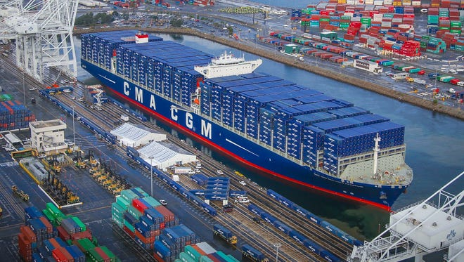 The CMA CGM Benjamin Franklin is the largest container ship to ever call at the Port of Long Beach, Calif.