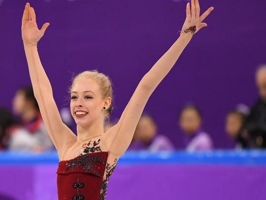 Bradie Tennell performs during the women's short program