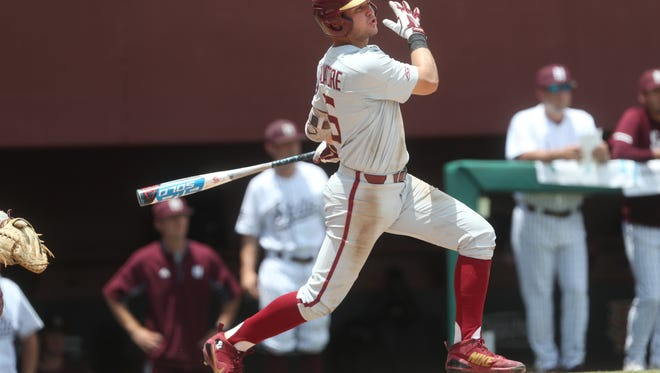 FSU's Mike Salvatore hits a single against Mississippi State during their NCAA Regional game at Dick Howser Stadium in Tallahassee, Fla. On Saturday, June 2, 2018.