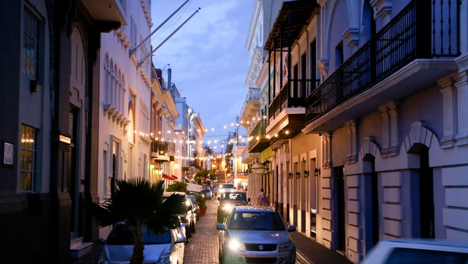 Traffic on the cobblestone streets of Old San Juan in the early hours of the evening. The island of Puerto Rico is reeling from a bad economic outlook and high unemployment rates.