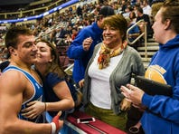 Northern Lebanon's Luke Funck celebrates his quarterfinal victory over Milton's Gage Heller with his girlfriend Carysse Norris, father, Gary, mother, Tory and sister Brittany.
