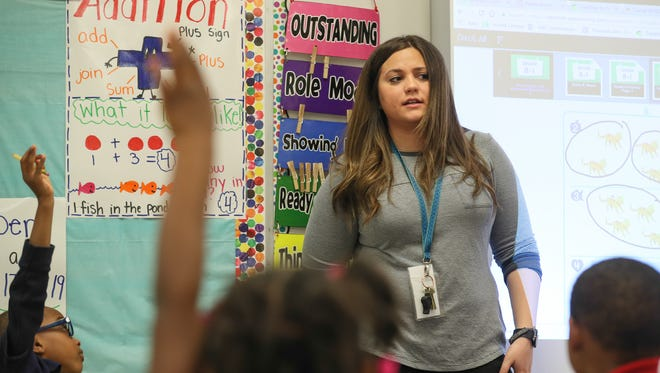 Jenna Fracasso, teaches math in her Kindergarten class at Maupin Elementary.