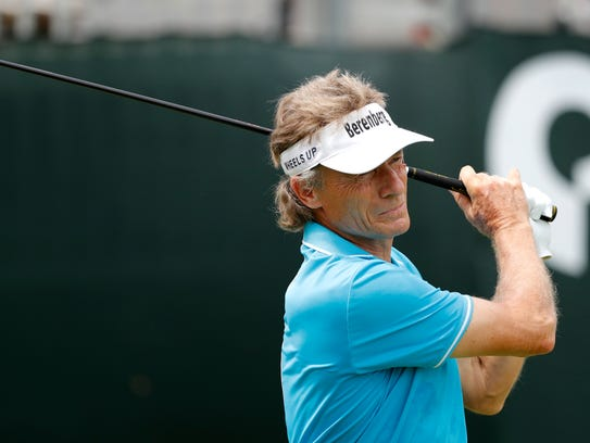 Bernhard Langer hits off the first tee during the second