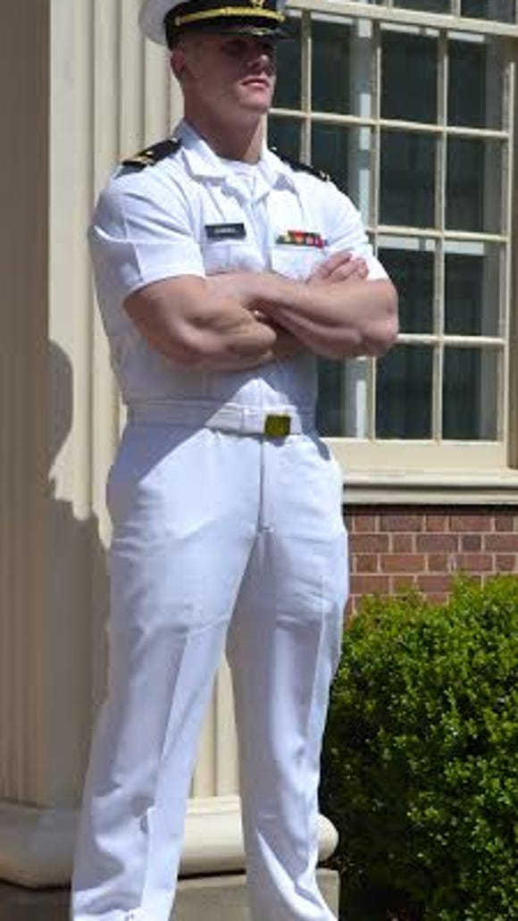 Ethan Jarrell poses outside of the ROTC Armory.