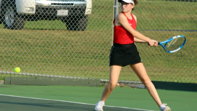 Junior Leah Lourenco of the 2020 Chillicothe (Mo.) HS tennis Lady Hornets draws her racquet back to make a backhand return during her 9-8 (7-3) No. 4 singles victory over Trenton's Alaina Overton Monday (Sept. 7). With this victory and her and No. 2 doubles partner Cami Carpenter's 8-3 win, Lourenco remained undefeated both in singles and doubles through CHS' first three dual matches of the season. Although nearly every position set was tightly-contested, Chillicothe came away with a 7-2 team victory Monday.