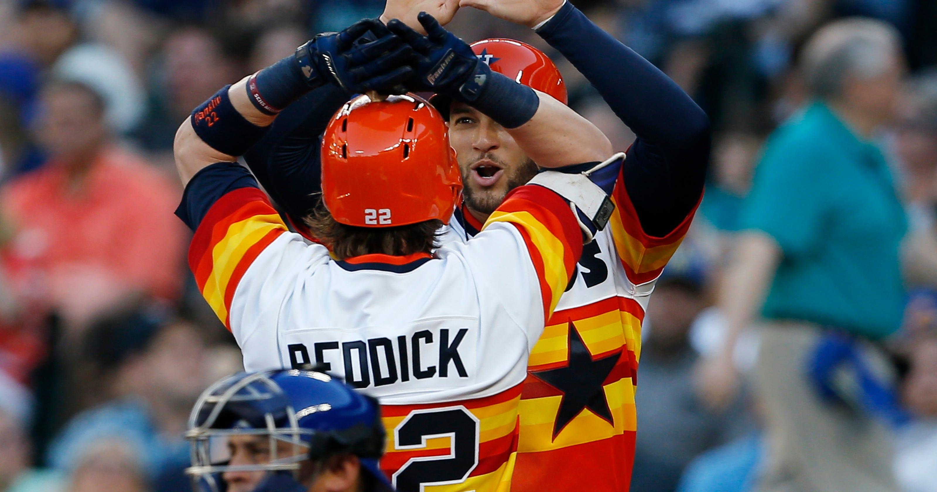 hot sale online 3794c 01a79 Rainbow resurgence: Bright Astros jerseys now a fan favorite