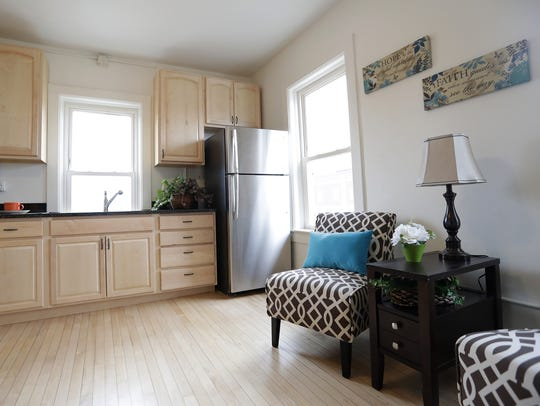 The interior of a one-bedroom apartment  in the newly
