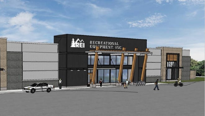 A rendering showing a Recreational Equipment Inc. store at CityGate dated Aug. 31, 2015 and submitted to the City of Rochester for site plan review of Phase III of CityGate.