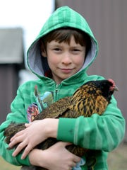 Nicholas Beals, 10, holds a chicken in his arms Sunday, Mar. 13, at his family's farm in Cottrellville Township.