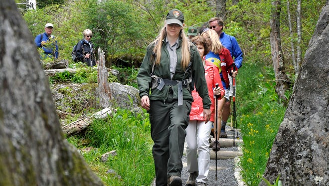 Smokies backcountry ranger Christine Hoyer leads a group hiking down the newly rehabilitated Forney Ridge Trail at the Great Smoky Mountains National Park.