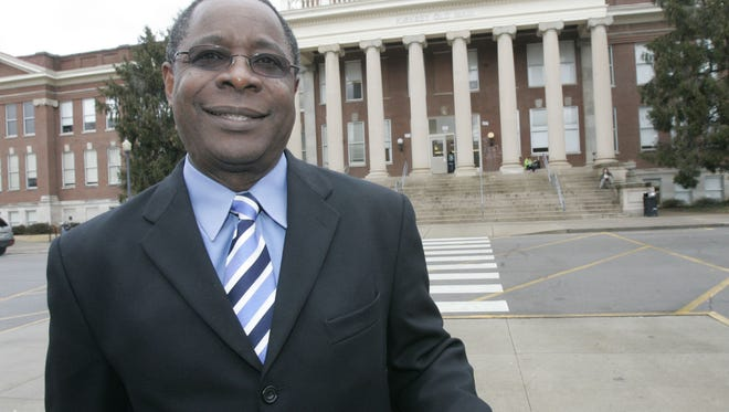 MTSU President Sidney McPhee stands in front of Kirksey Old Main building on campus.