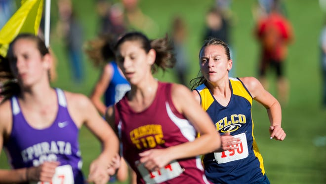 Elco's Lily Brubaker, right, placed 29th in the Girls AA race at the PIAA Cross Country Championships on Saturday.