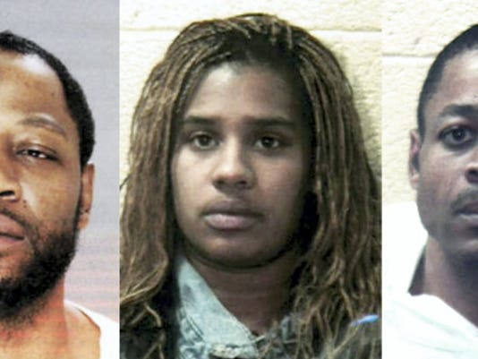 From left, Eddie L. Williams Jr., Akeita Harden and Rick Cannon. William and Harden are on trial for the murder of Marcus Ortiz and the shooting of Keith Crawford Jr. in March 2014. Cannon has already pleaded guilty in the case.