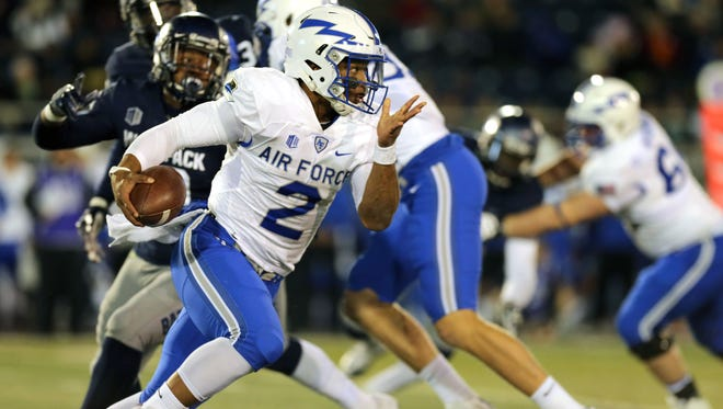 Air Force quarterback Arion Worthman (2) leads the Falcons option attack that ranks fifth in the nation in rushing.