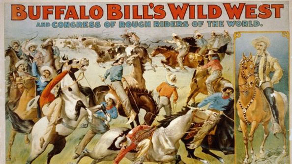 An early postcard by C.M. Russell of cowboys rounding