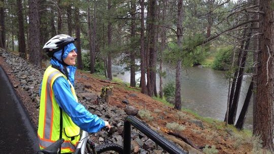 Becky Bucar, an associate engineer for the Town of Truckee, Calif., checks out the Truckee River from the Truckee Legacy Trail earlier this month.