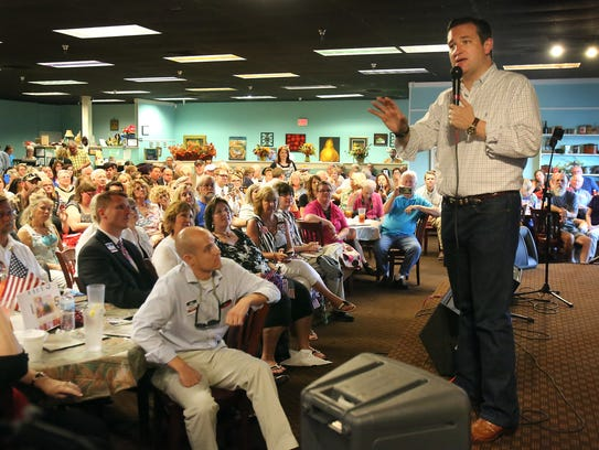 Ted Cruz addresses a group of supporters in Olive Branch,