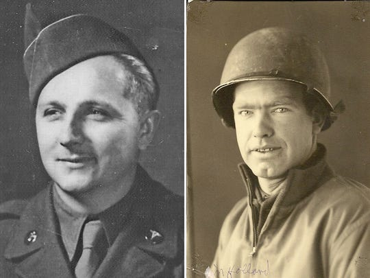 "At left, Travis Bunky McFee, who served in the Army during World War II and was among the first medical personnel to land at Normandy on D-Day. At right, George Cooper of Salem who served in the Army during World War II. This photo was taken ""somewhere in Holland"" in December 1944."