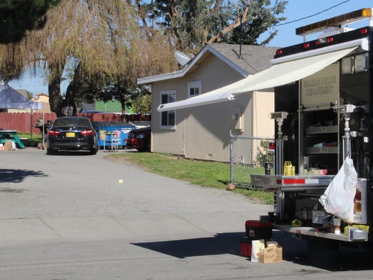 The scene of an officer-involved shooting Saturday