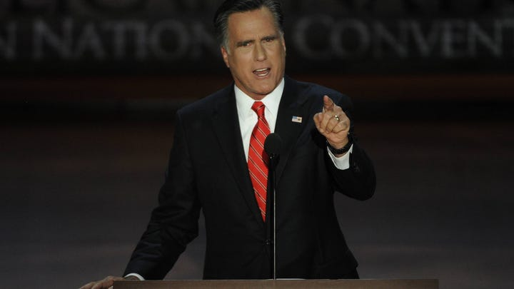 Mitt Romney gives his acceptance speech at the Republican National Convention Thursday night in Tampa.