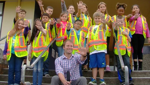 Josh Farley and the crossing guards at View Ridge Elementary.