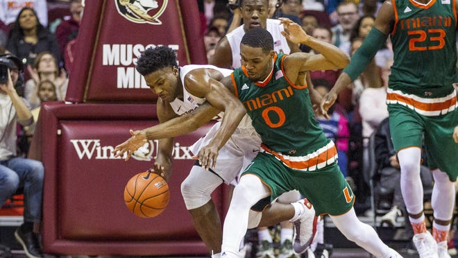 Miami guard Ja'Quan Newton (0) is charged with a foul as he tries to steal the ball from Florida State guard Malik Beasley in the first half of an NCAA college basketball game in Tallahassee, Fla., Sunday, Feb. 14, 2016. (AP Photo/Mark Wallheiser)