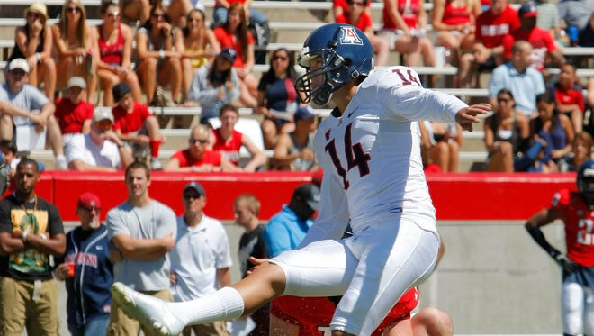 Former Arizona Wildcats kicker Alex Zendejas, seen here during a spring scrimmage in 2011 in Tucson, will play for the Arizona Rattlers as an emergency replacement.