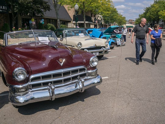 A 1949 Cadillac convertible was one of the eye-catching cars on display at the 2017 Plymouth Fall Festival.