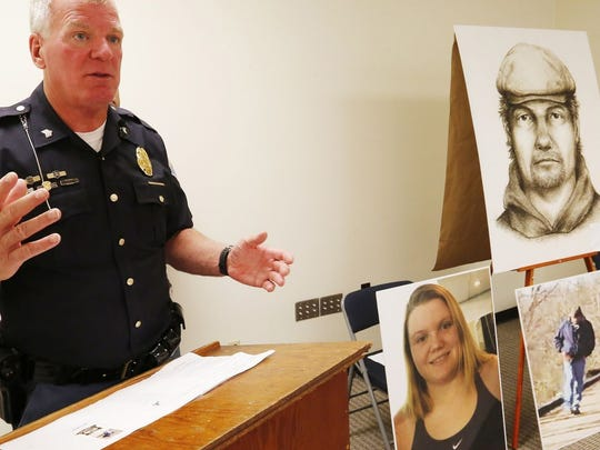 Indiana State Police Sgt. Kim Riley discusses the sketch of a man believed to be connected to the Delphi murders that was released on July 17, 2017. A newer, updated police sketch has since been released.