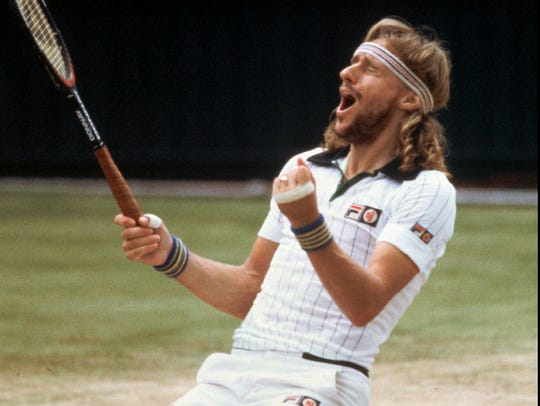 Björn Borg reacts after defeating John McEnroe and