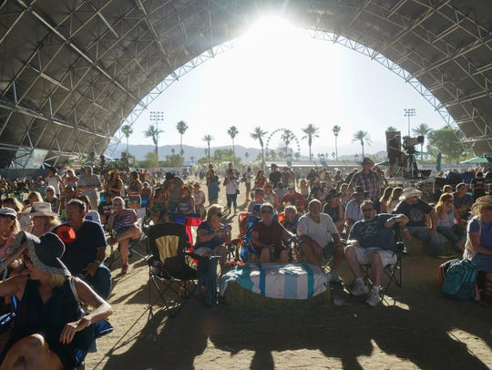 Apr 30, 2017; Indio, CA, USA; Fans wait in the Palomino