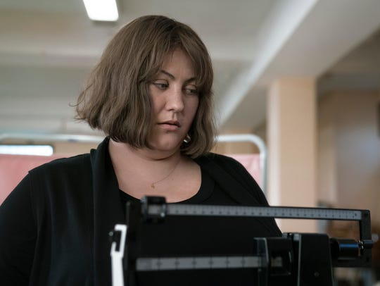 "Joy Nash as Plum Kettle on ""Dietland."""