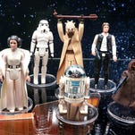 """Original """"Star Wars"""" action figures are displayed at the Monroe County Local History Room in Sparta, Wis. The figures are part the """"Star Wars, The Nostalgia Awakens"""" exhibit at the museum."""