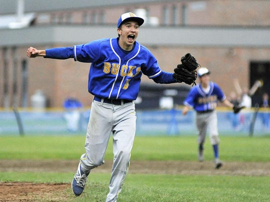 Relief pitcher Matt Page celebrates the final out of second-seeded Blue Mountain Union's 9-5 win over No. 3 Concord in their Division IV baseball semifinal on Monday.