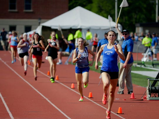Cami Davre of Whitefish Bay wins the girls 3,200-meter event with a time of 10:53.67 during the WIAA state track and field meet in La Crosse in 2017.